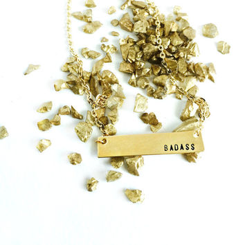 Badass Simple Bar Necklace // 14k Gold Filled rectangle / engraved / hand stamped / gold / short / minimalism / Bad Bad Jewelry //