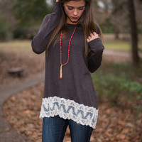 Wave Of Lace Top, Brown