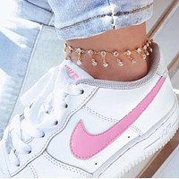 Nike Air Force 1 Trending Women Men Stylish Running Sport Shoes Sneakers White(Pink Hook)