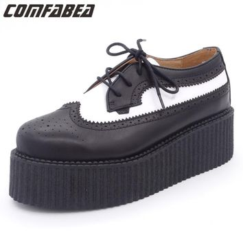 Spring Autumn 2018 Shoes Women Genuine Leather Oxfords Ladies High Quality Oxford Shoes For Women Flat shoes HARAJUKU Creepers