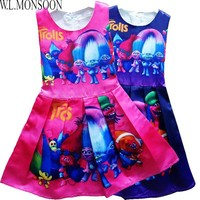 Girls Summer Dresses Trolls Costume 2017 Brand Princess Dress Girl Clothing Robe Reine Des Neiges Kids Clothes Children Dress