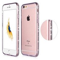 Iphone 6s Plus Case, Sincase [Ultra Thin] Soft Tpu Iphone 6s Plus Skin [Liquid Crystal] Protective Clear Diamond Bumper Cover Bling Rhinestone Frame Slim for Apple Iphone 6s/6 5.5 (Purple)