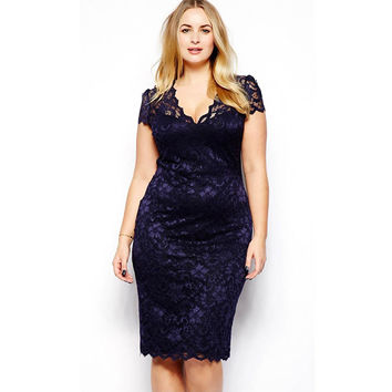 Bodycon Vintage Slim Fit Blue Lace Dress