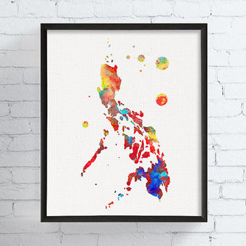 Philippines Map, Philippines Art Print, Watercolor Map, Map Painting, Map Poster, Travel Print, Framed Art, Country Map, Countries