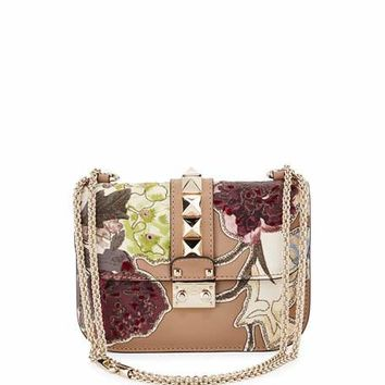 Valentino Lock Small Floral Leather Shoulder Bag, Alpaca Tan