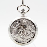 Silver Dragon and Phoenix Clamshell Hand Wind Mechanical Pocket Watch With Box