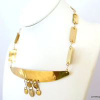 Gold brass necklace, bohemian tribal style collar, statement neck piece , gift under 50