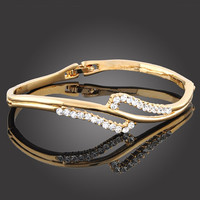 HOLIDAY CLEARANCE SALE! Swirl Swarovski Crystal Bangle Bracelet In Yellow Gold Plating