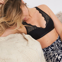 Aerie Nordic Lace Padded Bralette, True Black