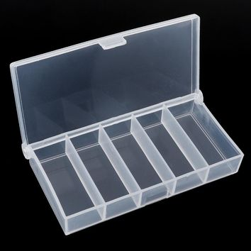 Multifunctional Portable 5 Grid Compartments Transparent Storage Case Box Visible Plastic Fishing Tackle box