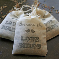 Wedding favor, bird seed toss favors. 50 muslin bags, 2x4, flilled with bird seed. Shower the Love Birds design.