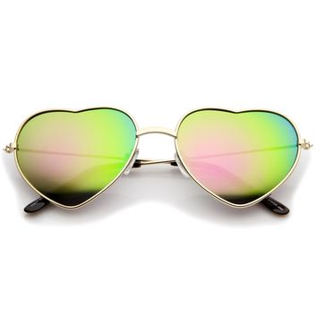 Small Thin Metal Frame Temples Colored Mirror Lens Heart Sunglasses 52mm