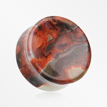 A Pair Of Amber Agate Concave Stone Double Flared Plug