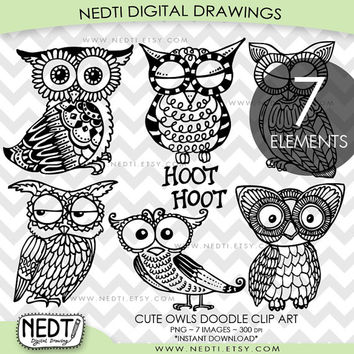 Cute Owl Doodle Clip Art, Adorable owls Clipart, PNG, Digital Stamps Images, Instant Download