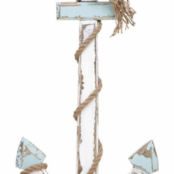 Benzara Wood Anchor In Nautical Rustic Finish For Unique Wall Decor