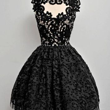 Streetstyle  Casual Black Plain Lace Pleated Puffy Sweet Homecoming Party Mini Dress