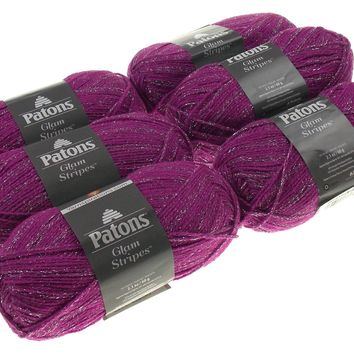 Patons Glam Stripes Orchid Purple Silver Yarn Lot of 6 Skeins 60g 2.1oz 261yds