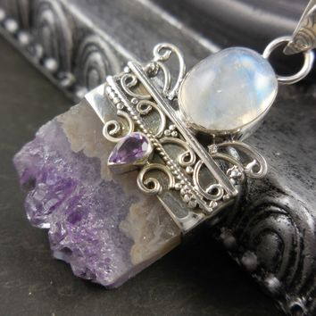 Amethyst Quartz Stalacite & Moonstone Sterling Silver Pendant/Necklace
