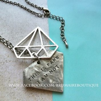 Diamond Tag Pendant with Cut-out Top Piece Necklace