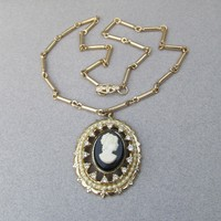 Signed CORO Pegasus 1950's Vintage Rhinestone & Faux Pearl CAMEO Necklace