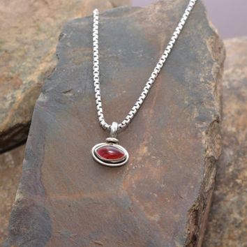 Small Sterling Silver and Red Stone Pendant on Sterling Silver Italian Uno-A-Erre Box Chain