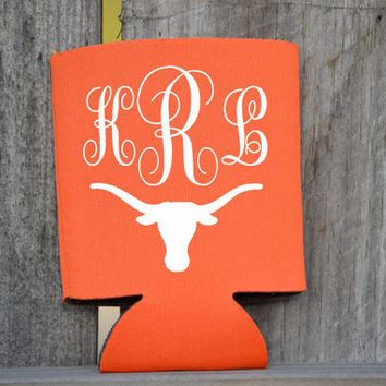 Texas Longhorns Monogram Koozie ~ Longhorn ~ Monogrammed ~ Orange