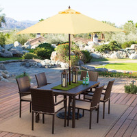 Outdoor Patio 9-ft. Wooden Market Umbrella with Yellow Shade Canopy