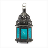 Blue Glass Moroccan Lantern  37438 - Jars & Holders