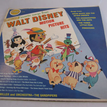 Vintage 1974 Favorie Songs From Walt Disney Motion Picture Hits Vinyl Record Collectible