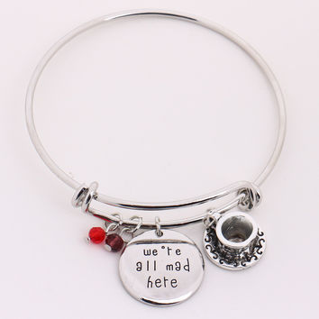 "Alice in Wonderland Bangle""we're all mad here""Hand Stamped Pendant Crystal,Cheshire Cat  Bangle Bracelet for Halloween Christmas"