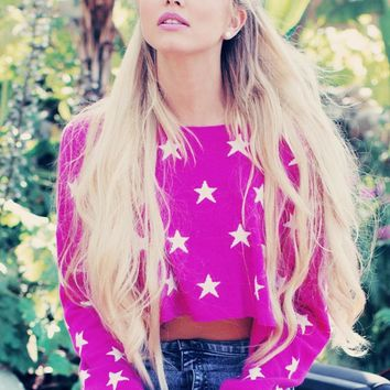 Wildfox Couture Starlight Cropped Billy Sweater in Pink Corvette