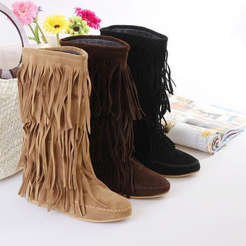 Women's 3 Layer Fringe Tassels Flat Heel Boots Decoration Mid-Calf Slouch Shoes Women Sapatos Femininos [8238483527]