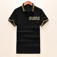 Versace Popular Men Women Casual Short Sleeve T-Shirt Top Black
