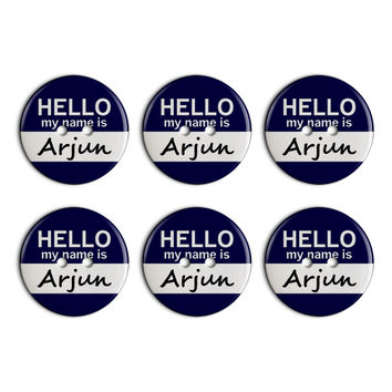 Arjun Hello My Name Is Plastic Resin Button Set of 6