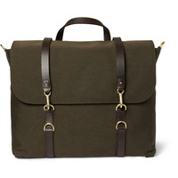 Mismo Leather-Trimmed Wool-Twill Satchel | MR PORTER