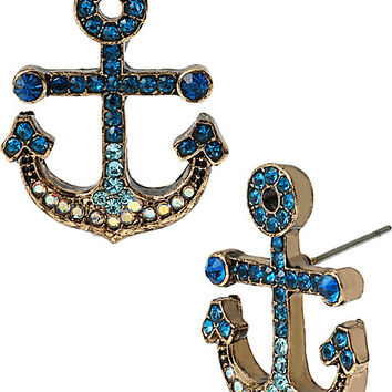 SHIP SHAPE PAVE ANCHOR STUD EARRINGS MULTI