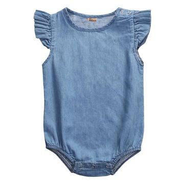 Cute Newborn Infant Baby Girls Denim Fly Sleeve Romper Jumpsuit Clothes Playsuit Outfit