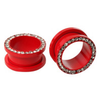 Steel Matte Red Clear Bling Spool Plug 2 Pack