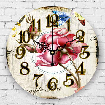 Pastoral style bedroom decor wall clock absolutely silent 3d flower wall clock vintage home decor wall clock orologio parete