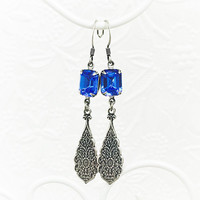 Sapphire Blue Earrings - Sapphire Jewelry - Dangle Earrings - Long Earrings - Blue Jewelry - Victorian Style - September Birthstone