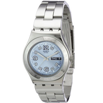 Swatch YLS702G Women's Ciel Clair Irony Blue Dial Stainless Steel Bracelet Watch