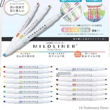 1Pc Zebra MildLiner Highlighter Marker Double-Sided Round Toe/Oblique Mild 15 Colors for Choose Office and School Supply