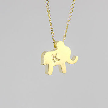 Personalized Necklace. Initial Elephant Necklace. Tiny Lucky Elephant gold filled Jewelry. Gifts mom,friends,sister