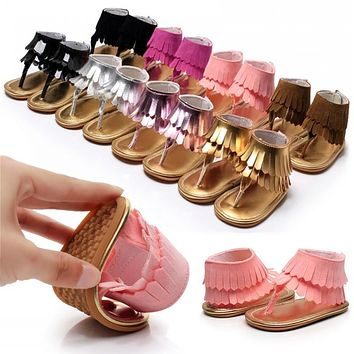 Summer Tassels Baby Moccasins Fashion Clip Toe Baby Shoes Rubber Sole Toddler Girl Shoes 7-Color Kids Slippers 11CM-15CM