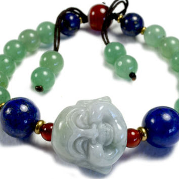 Life in Joy, Happy Buddha  Amulet Bracelet - Fortune Good Luck Fashion Jade Jewelry