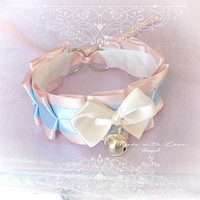 Kitten Play Princess Cat Collar Choker Necklace Pink Baby Blue Beige Bow Bell Kitty Cute Soft pastel goth Lolita Neko BDSM DDLG Adult Baby