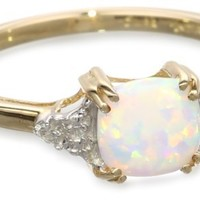 10k Yellow Gold, October BirthStone, Created Opal and Diamond Ring, Size 9