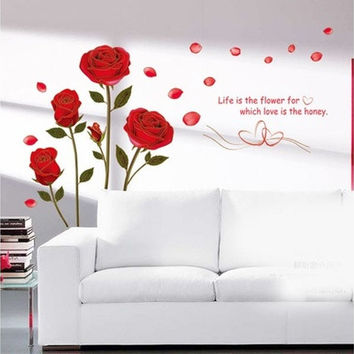 Red Rose Flower Quote Wall Sticker Mural Decal Home Room Art Decor DIY [8045594247]