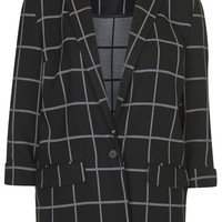 Window Pane Check Boyfriend Blazer - Topshop