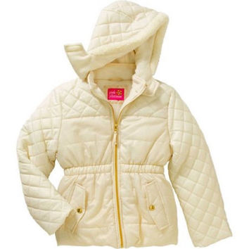 Pink Platinum Girls' Quilted Puffer Jacket Faux Fur Trimmed Hood, Cream, 4